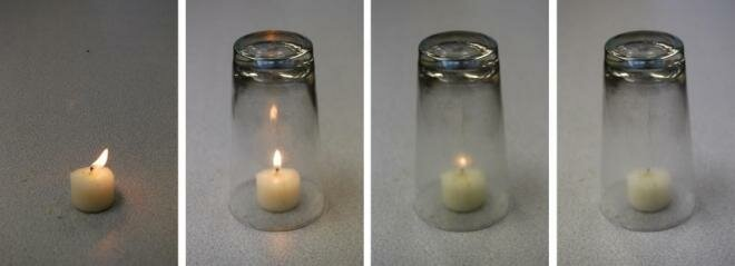For example, when a burning candle is covered with a glass, the heat release rate is reduced, the flame dims and is eventually extinguished as the oxygen in the glass is consumed.